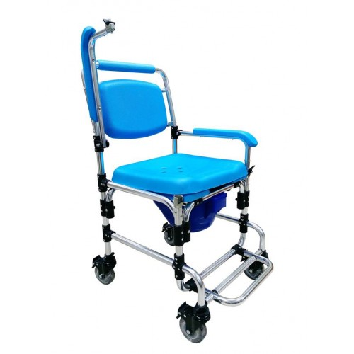 FHSCW-T02(W19) Aluminum Shower Commode 2 in 1 Chair with Wheel